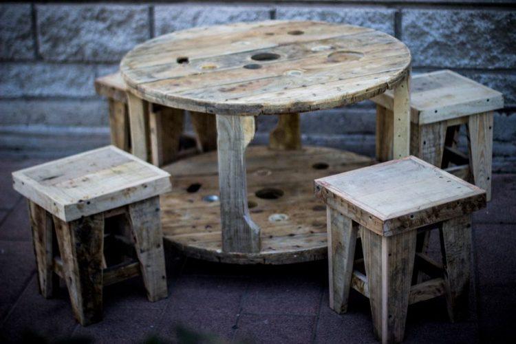 """Mesa+taburetes """"Carrete"""" - Perfil"""